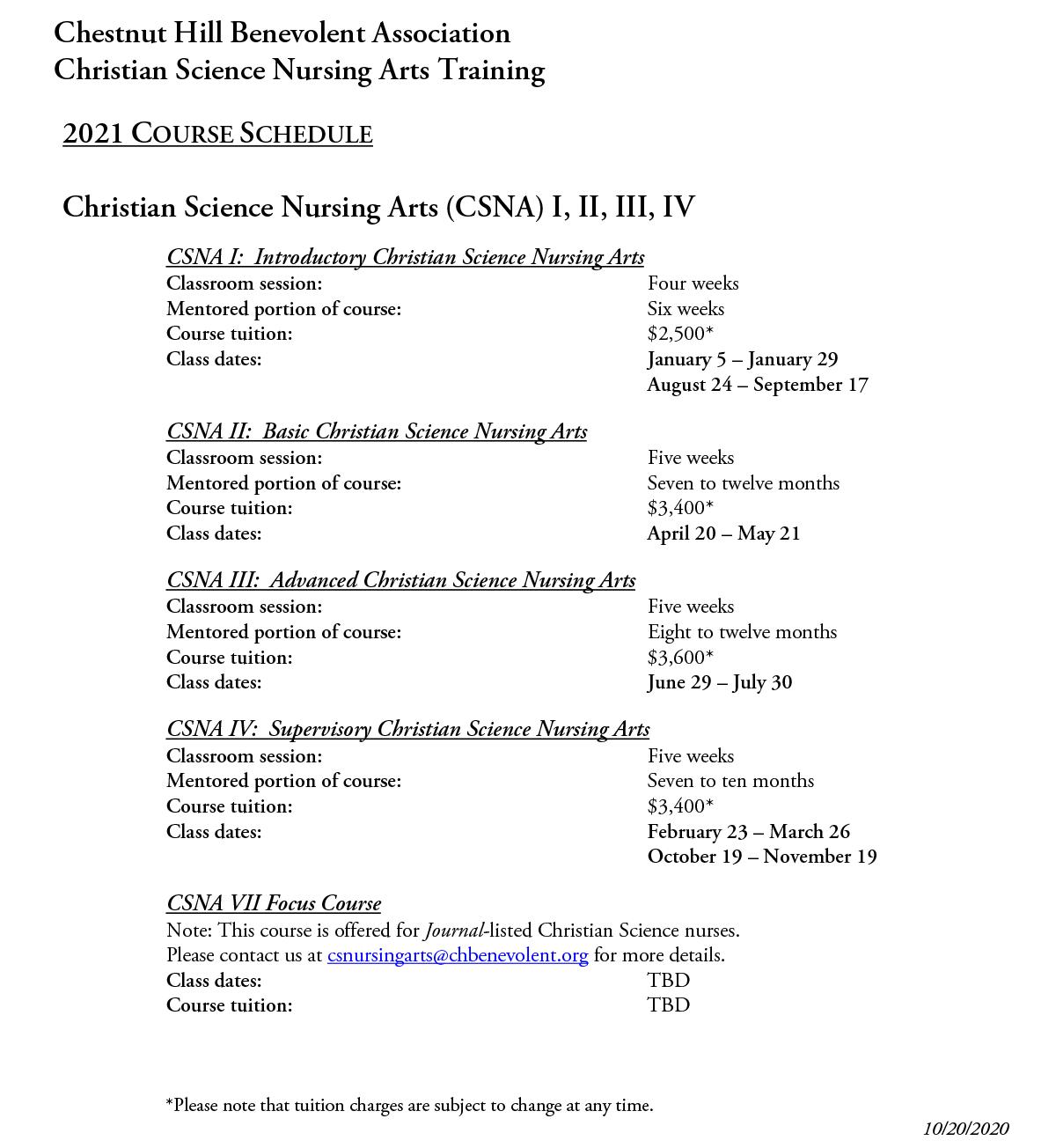 CSNA Course-schedule-chestnut-hill-2021